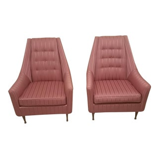 Vintage Mid-Century Flexsteel Pink Jacquard Stripe Upholstered Chairs- A Pair For Sale