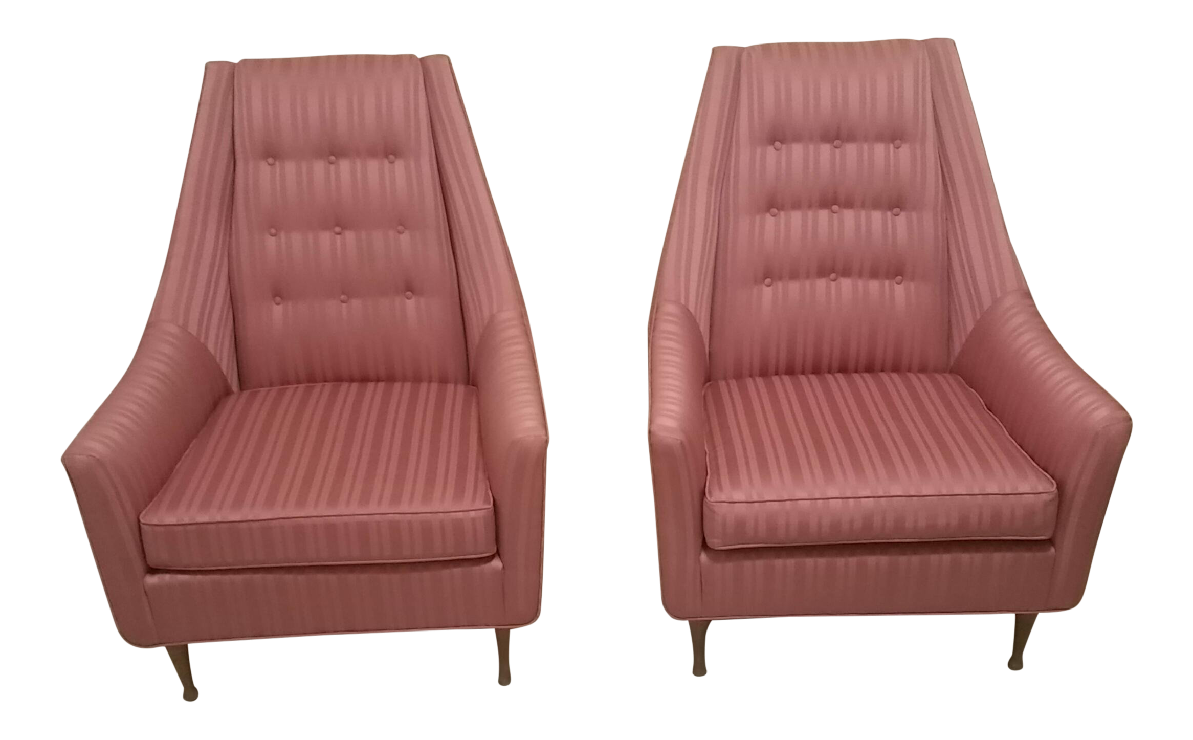 Vintage Mid-Century Flexsteel Pink Jacquard Stripe Upholstered Chairs- A Pair For Sale  sc 1 st  Chairish & Vintage Mid-Century Flexsteel Pink Jacquard Stripe Upholstered ...