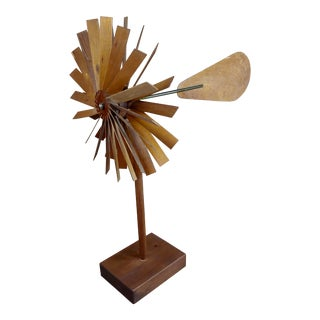Mid-Century Double Propeller Wooden Weathervane For Sale
