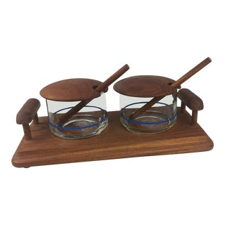 Vintage Good Wood Genuine Teak and Glass Service Set For Sale
