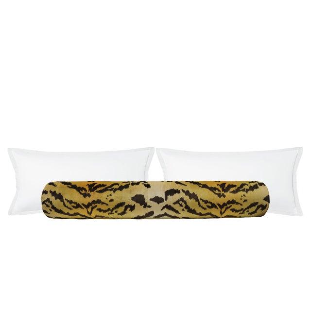 """48"""" Scalamandre Le Tigre Silk Velvet Bolster - Image 2 of 4"""