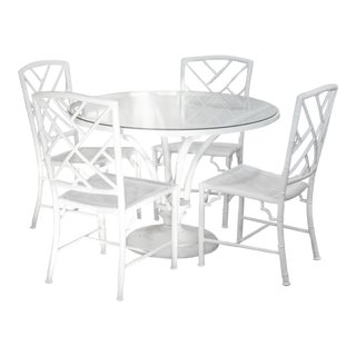 1960s Meadowcraft Faux Bamboo Aluminum Patio Set For Sale
