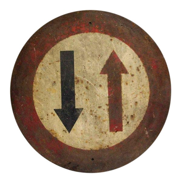French Two Way Traffic Sign For Sale