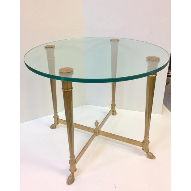 Maison Jensen 1960s Hollywood Regency Glass and Brass Hoof Table For Sale - Image 4 of 9
