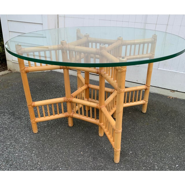Willow and Reed Bamboo and Glass Round Dining Table For Sale In New York - Image 6 of 11