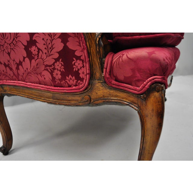 Walnut Antique French Country Louis XV Style Walnut Burgundy Small Wingback Settee For Sale - Image 7 of 13