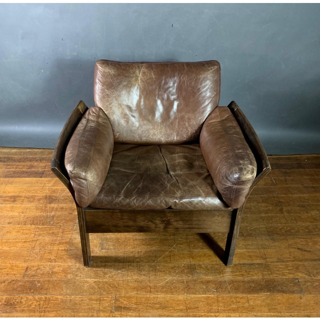 Danish Leather Lounge Chair With French Cane Sides, Late 1970s For Sale - Image 4 of 10