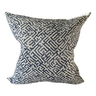 Zak & Fox Basilica Blue and Natural Linen Pillow Cover For Sale