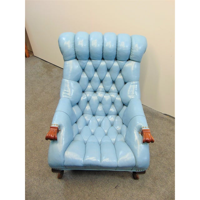 Chesterfeild Light Blue Leather Lounge Chair & Ottoman For Sale - Image 4 of 8