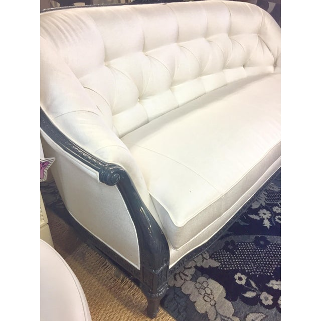"""We """"glammed up"""" the Century Isabel Sofa to make it more contemporary. White Polyester Chenille Fabric with Dark blue gloss..."""
