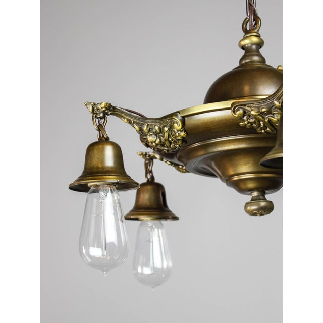 Gold Colonial Revival Light Fixture (5-Light) For Sale - Image 8 of 10