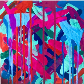 """Contemporary Abstract Pigmented Ink on Panel Titled: """"Summer 1982"""" by Mirtha Moreno For Sale"""
