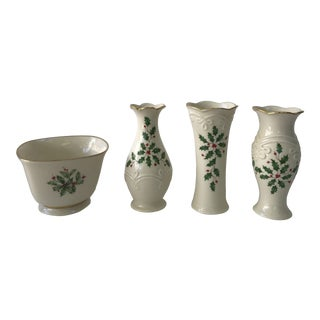 Vintage Lenox Holiday Single Bud Vases and Bowls- 4 Pieces For Sale