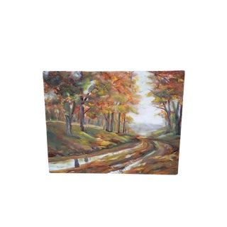 Vintage Fall Landscape Oil Painting on Canvas For Sale