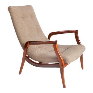 Gelli Armchair in Brazilian Jacaranda with Dark Beige Linen For Sale