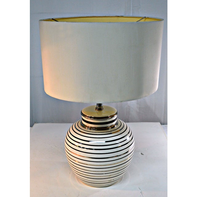 Mid Century Bowl Table Lamp & Drum Shade - Image 7 of 10
