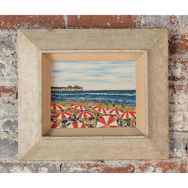 Santa Monica Pier Beach Scene 1950s Oil Painting - Image 2 of 10