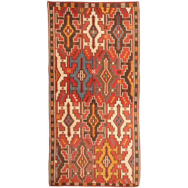 Antique Mid 19th Century Caucasian Kilim For Sale