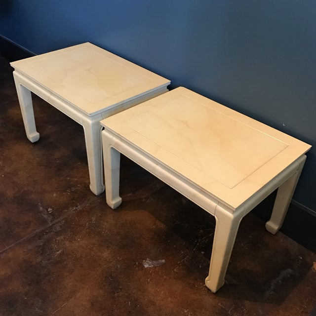 Henredon Goatskin Lacquered End Tables - a Pair - Image 4 of 9