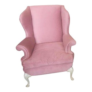 Flamingo Pink Upholstered Armchair For Sale