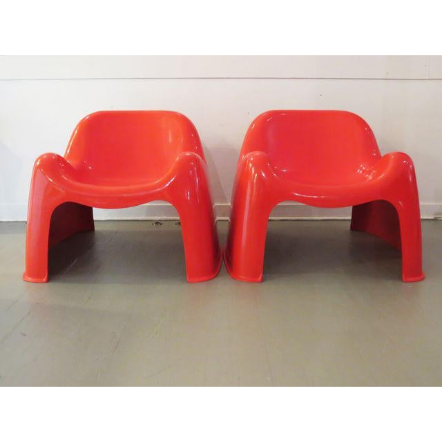 Vintage Artemide Red Toga Chairs - A Pair - Image 2 of 9
