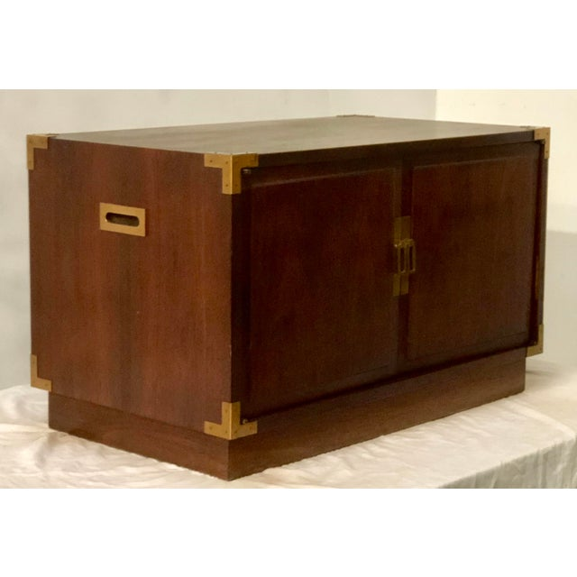 Campaign Campaign Style Trunk / Coffee Table For Sale - Image 3 of 4