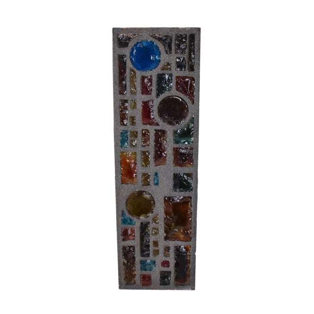 Brutalist Period Architectural Wall Art Colored Glass Panel For Sale