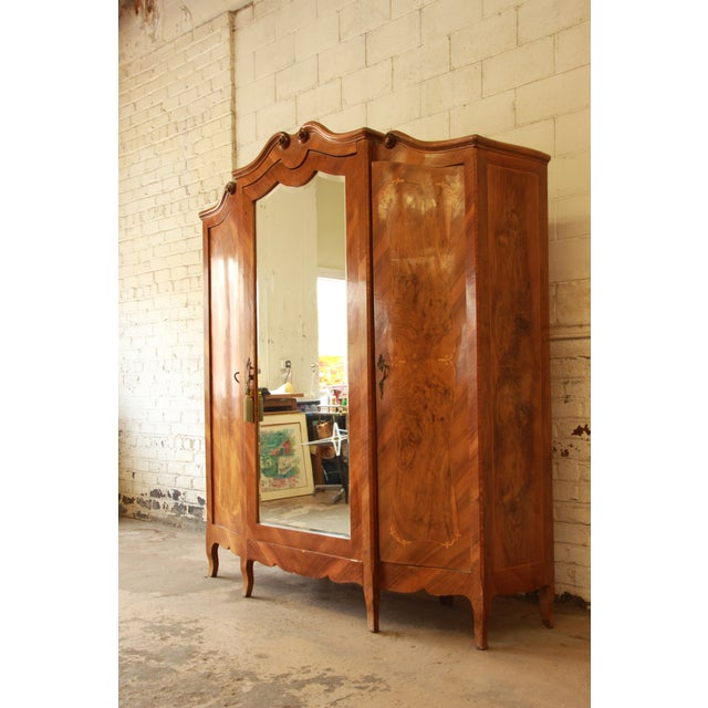 1870's Burled and Inlaid French Knockdown Wardrobe For Sale - Image 4 of 13