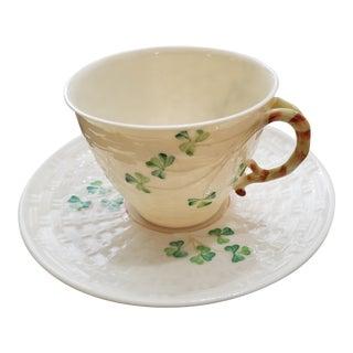 Belleek Clovers Cup & Saucer