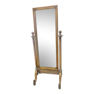 Hollywood Regency Gold Gilt Distressed Dressing Mirror For Sale