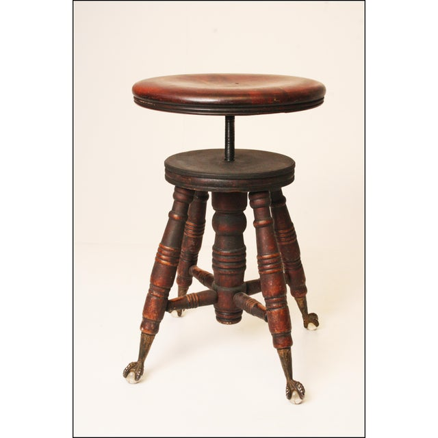 Victorian Wood & Glass Swivel Piano Stool - Image 5 of 11