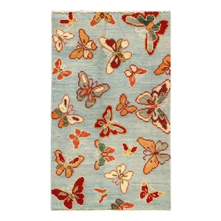 "Pasargad Modern Butterfly Kaleidoscope Rug- 2'4"" X 4' For Sale"