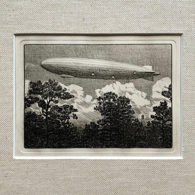 A rare 1928 engraving of the USS Los Angeles at Lakehurst, NJ. This engraving was originally a holliday card sent by the...