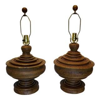 Boho Woven Basket Lamps - a Pair