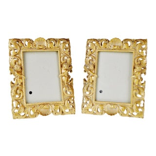 Vintage Resin Picture Frames With Cherub Design - a Pair For Sale