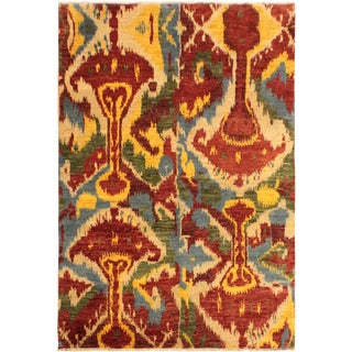 Ikat Modern Sung Red/Ivory Wool Rug - 5'1 X 8'1 For Sale