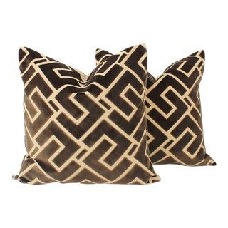 Mink Cut Velvet Geometric Abstract Pillows, a Pair For Sale