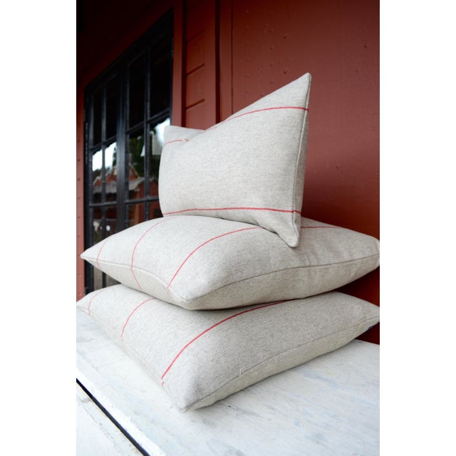 FirmaMenta Italian Red Striped Sustainable Wool Lumbar Pillow For Sale - Image 4 of 6