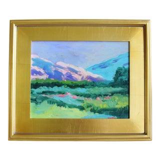 Plein Air Foothills Landscape Painting W/ Gold Leaf Frame For Sale
