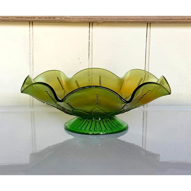Green Northwood Rainbow Carnival Glass Bowl, Underlined N Logo For Sale - Image 8 of 8