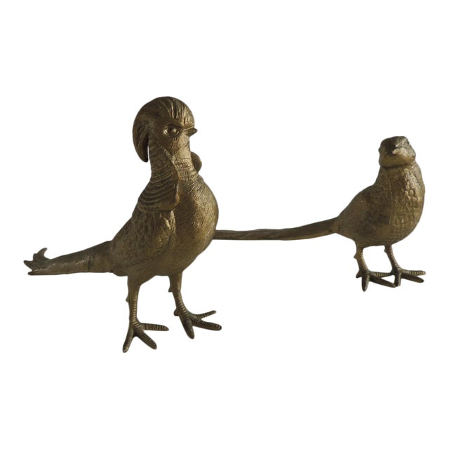 Pair of Brass-Plated Standing Male and Female Pheasants For Sale