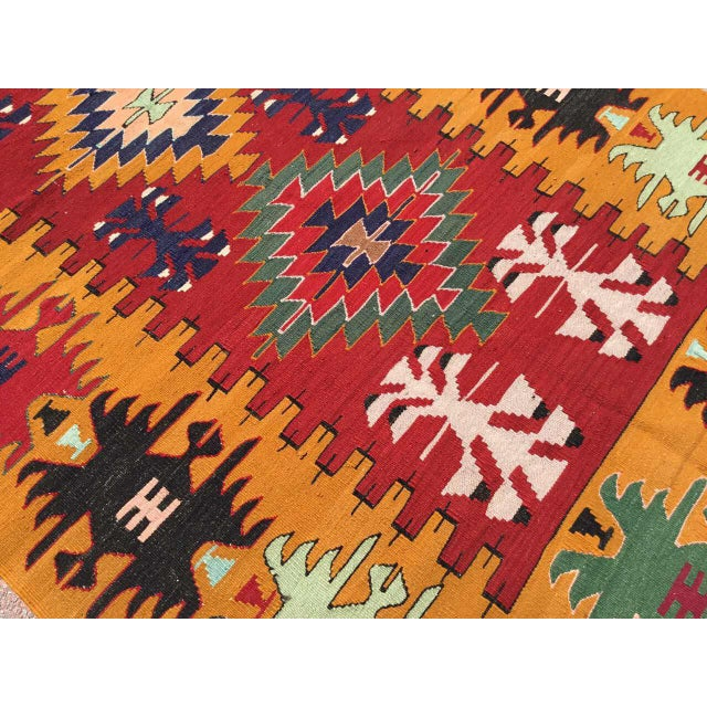Orange Turkish Kilim Rug For Sale - Image 4 of 9