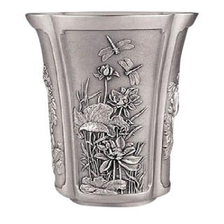 Antique Japanese Four Season Motif Pewter Vase in Metal Chinese Asian For Sale