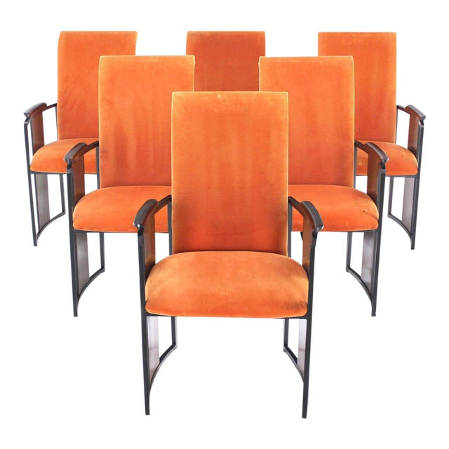 Mid-Century Modern Metal and Rosewood Frame Dining Chairs - Set of 6 For Sale