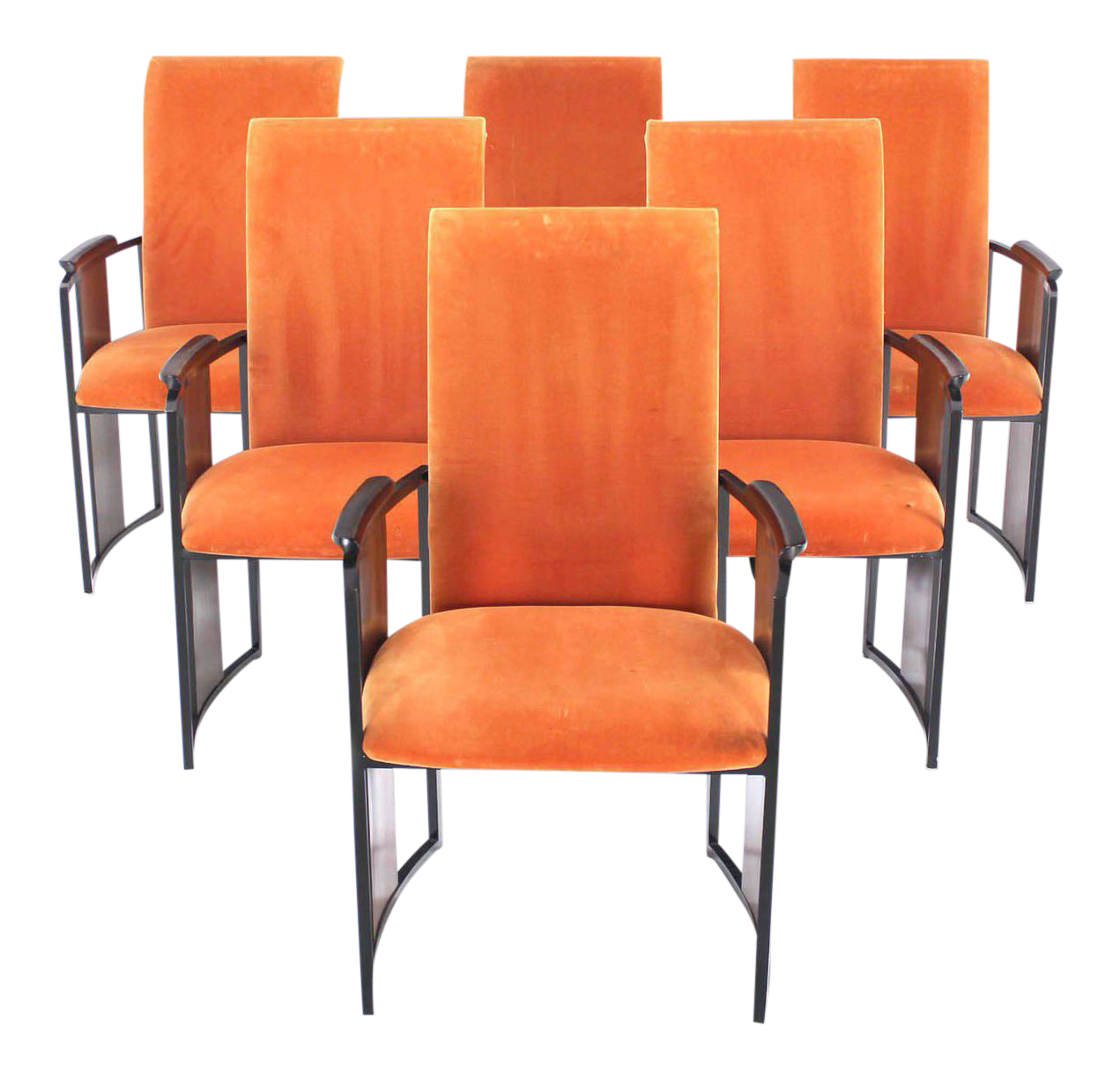 Mid Century Modern Metal And Rosewood Frame Dining Chairs   Set Of 6 For  Sale