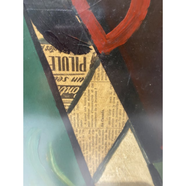 Green 1956 Cubist Guitar J Lacoste Mixed Medium on Board Painting For Sale - Image 8 of 13