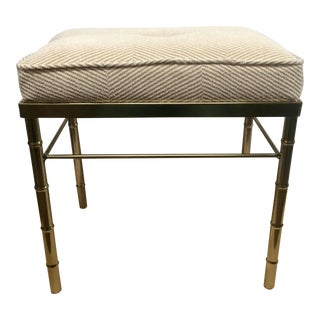 Brass Colored Faux Bamboo Stool For Sale