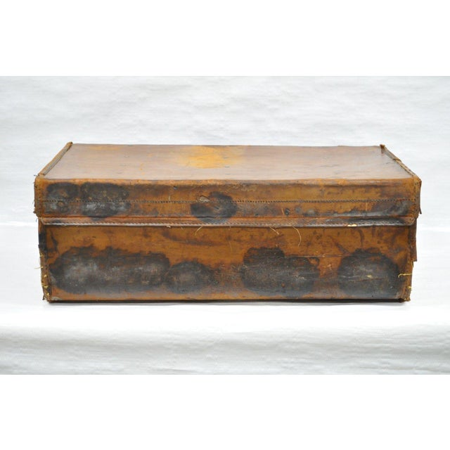 English Traditional Antique 11.5 X 33 X 20 Large Brown English Leather Hard Luggage Suitcase Trunk For Sale - Image 3 of 10