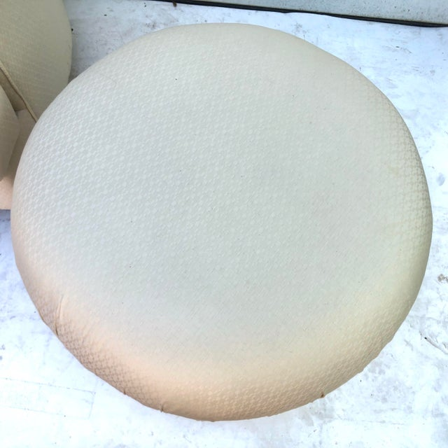 Textile Modern Swivel Club Chair With Matching Pouf Ottoman For Sale - Image 7 of 9