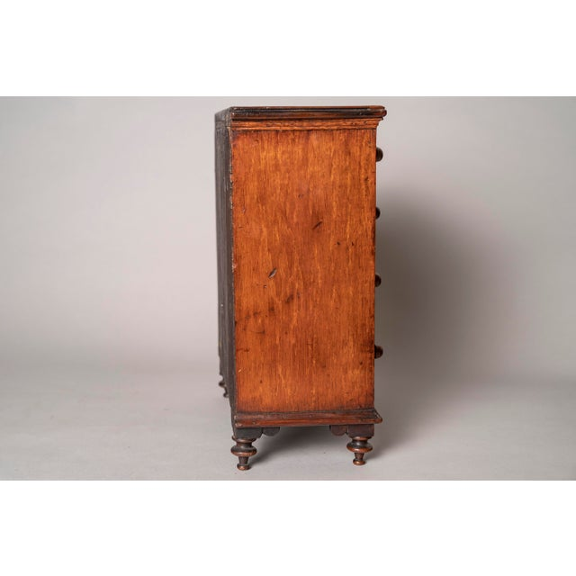 Early 19th Century C 1820 English Model of Cherry Wood Chest of Drawers Apprentice Piece and Salesman Sample For Sale - Image 5 of 8